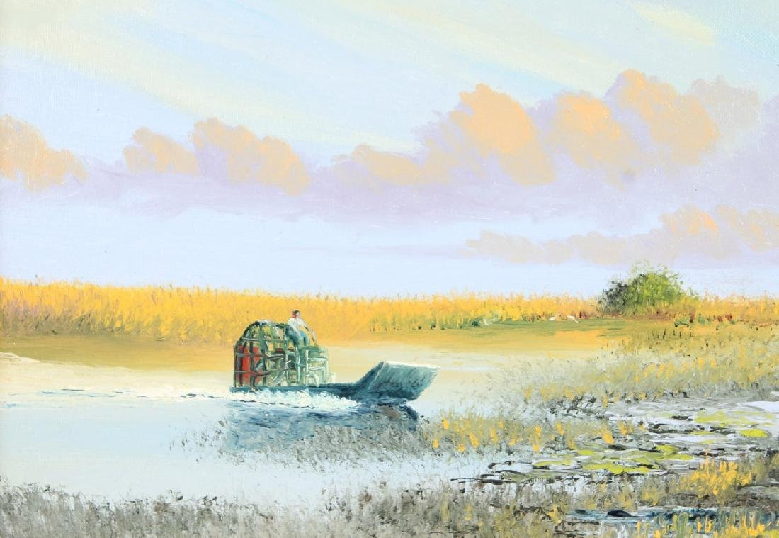 MARK STANFORD FLORIDA MARSH AIRBOAT OIL ON CANVAS - 2