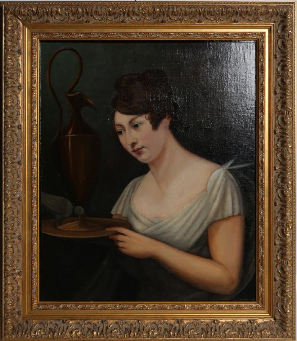 AMERICAN SCHOOL 19TH C RESTORED PORTRAIT OF LADY