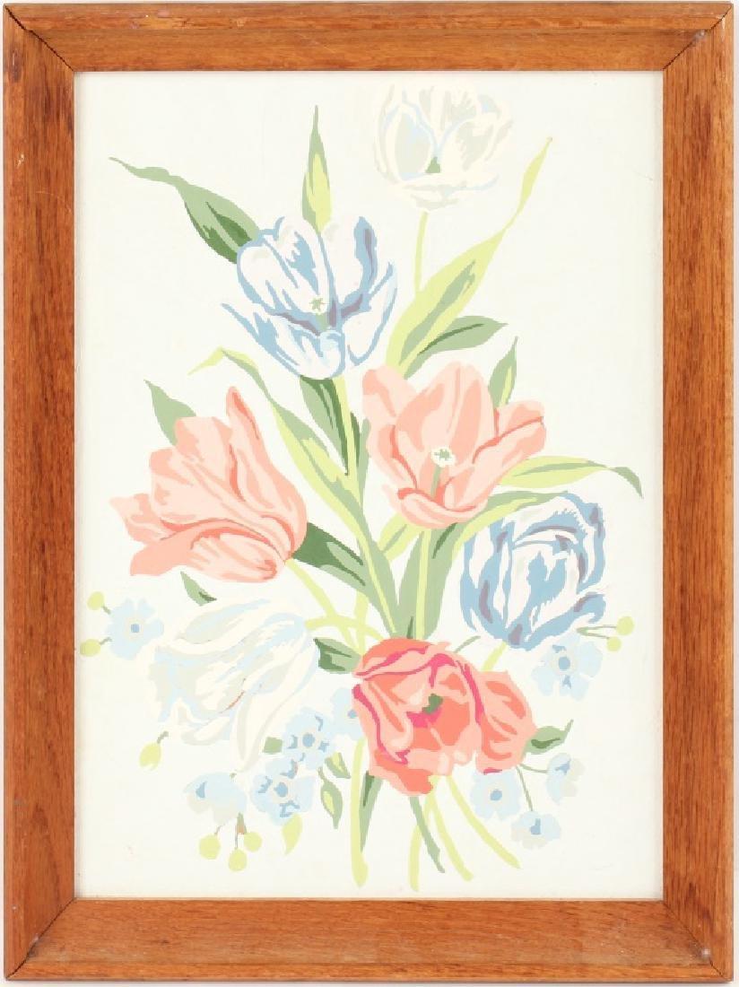 1960 TEMPERA PAINTING OF FLOWERS IN WOOD FRAME