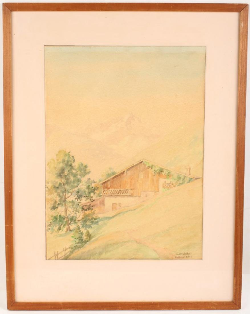 GOTTLIEB KAUSCHKE 1920 WATERCOLOR PAINTING