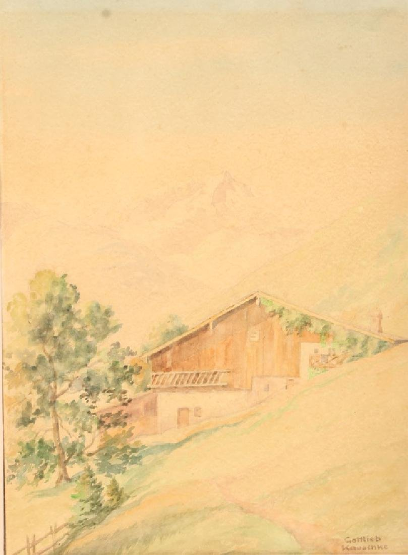 GOTTLIEB KAUSCHKE 1920 WATERCOLOR PAINTING - 2