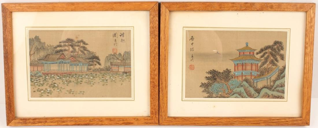 PAIR OF CHINESE PAINTINGS TO SILK
