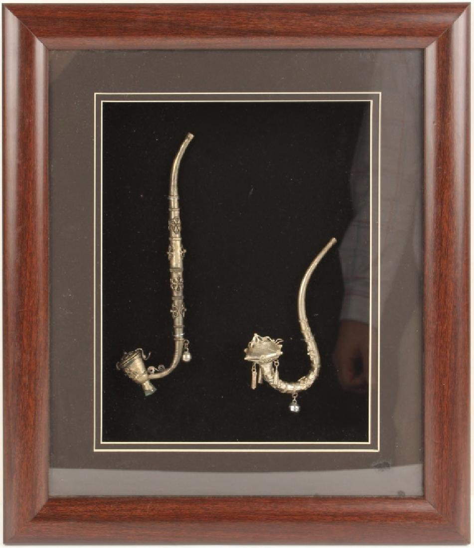 SILVER TONE OPIUM PIPES SET IN SHADOW BOX