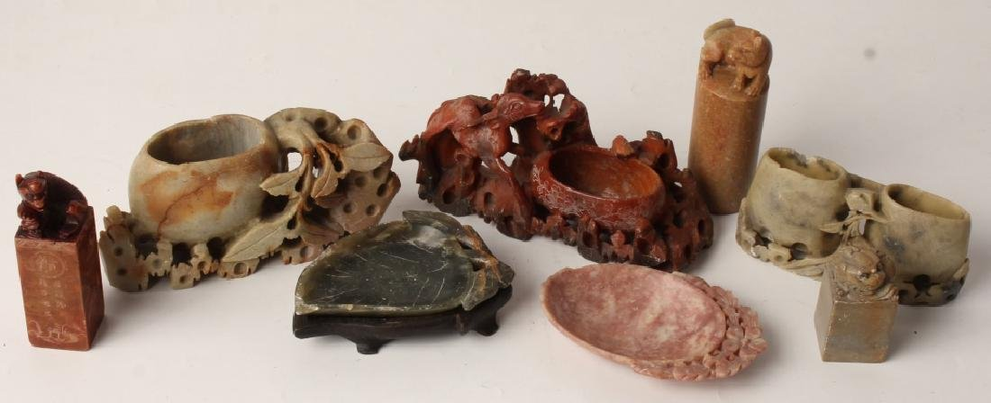 CARVED SOFTSTONE INK WELLS & CHOPS