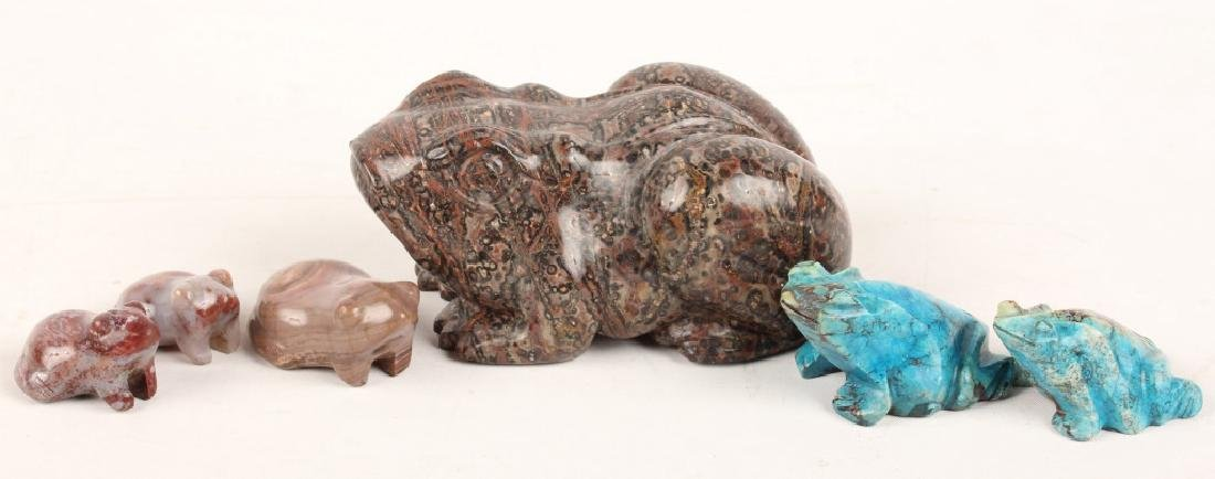 CARVED GEMSTONE FROGS