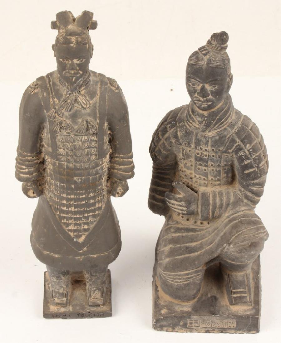 TWO CHINESE TERRACOTTA SOLDIER MINIATURES
