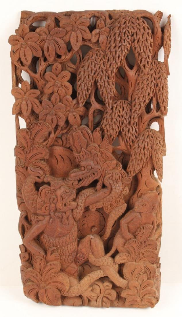 CARVED WOODEN BALINESE PLAQUE