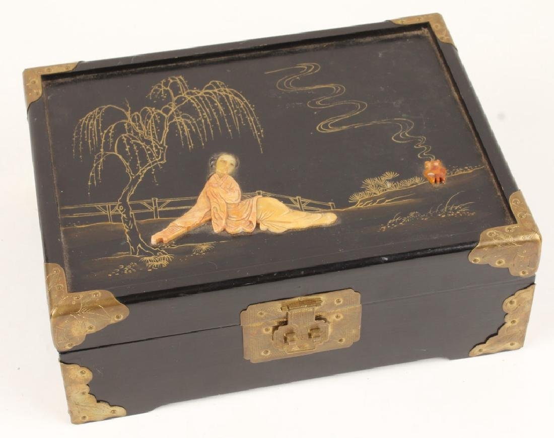 CHINESE WOODEN BOX WITH CARVED STONE INLAY