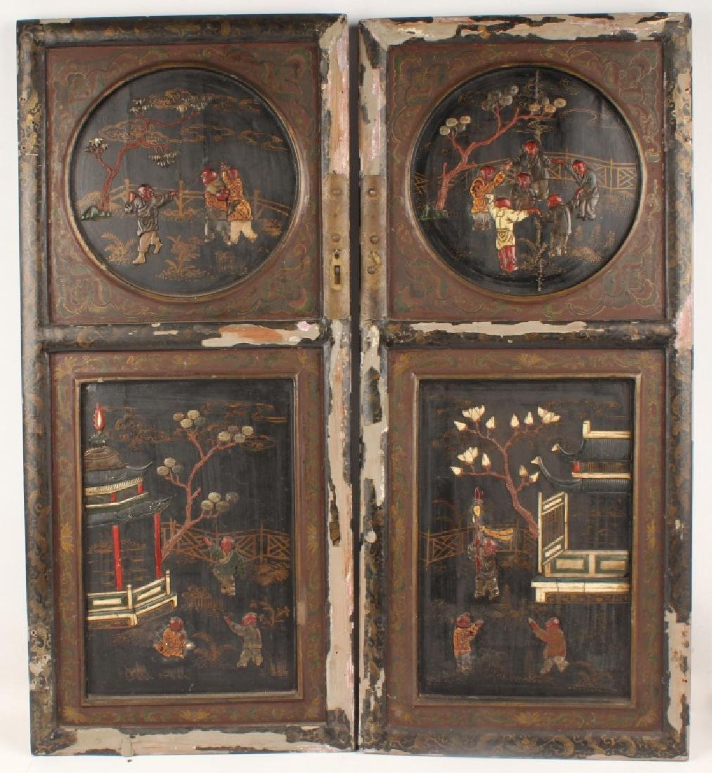 PAIR OF 20TH CENTURY ORNATE CHINESE CABINET DOORS