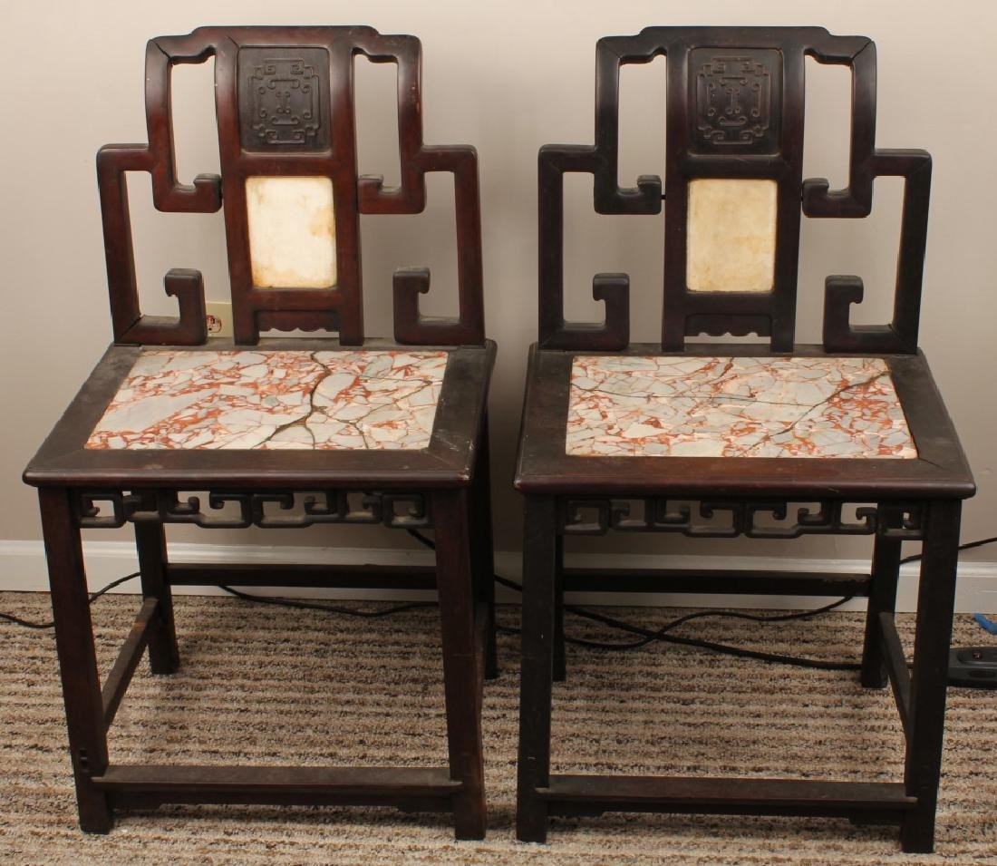 PAIR 19th C. CHINESE MARBLE INLAY CHAIRS
