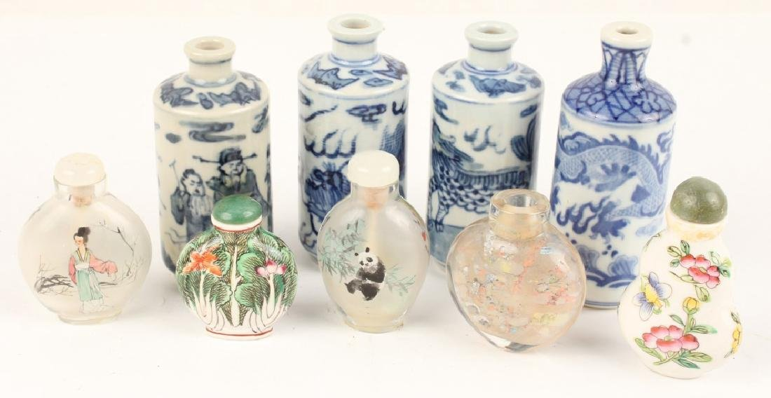CHINESE SNUFF BOTTLES - CERAMIC, GLASS