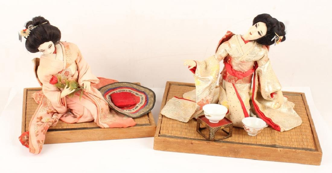 PAIR JAPANESE GEISHA DOLLS SEATED TATAMI WOOD BASE