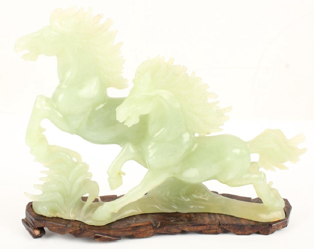CHINESE JADE HORSES WITH FITTED BASE