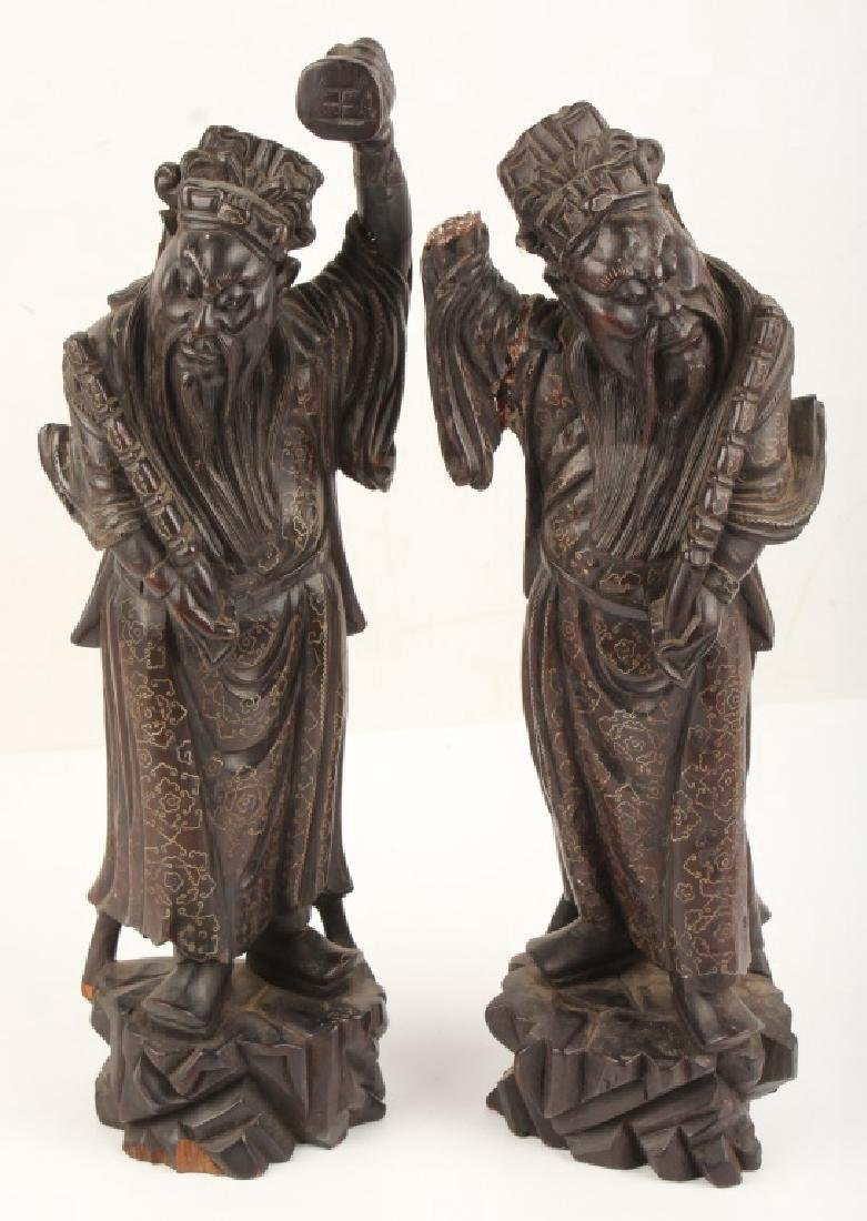 PAIR CHINESE WOOD FIGURAL STATUES