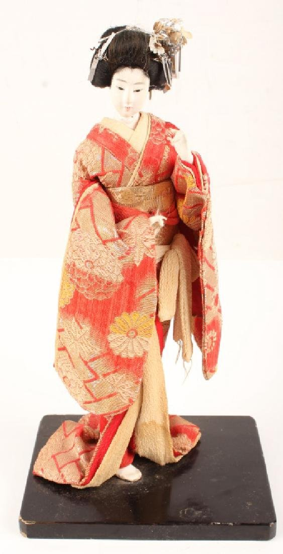 JAPANESE WOOD AND CLOTH GEISHA DOLL BLACK STAND