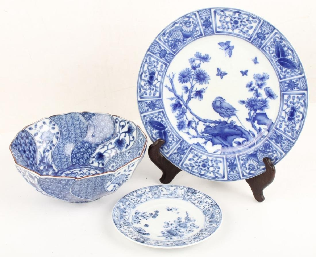 BLUE AND WHITE JAPANESE DINNER PLATES AND BOWL