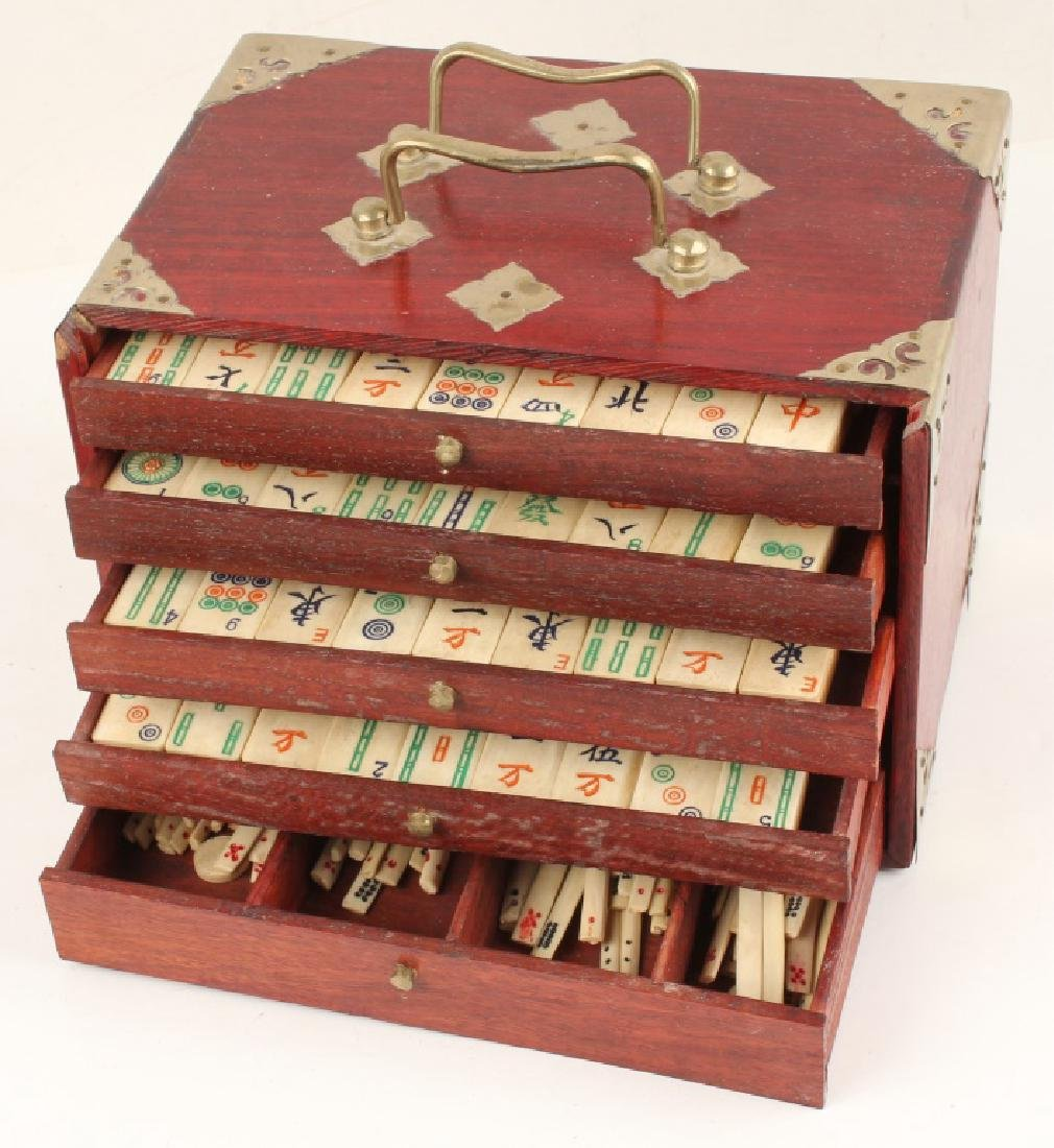 CHINESE BONE MAHJONG SET WITH WOODEN CASE - 2