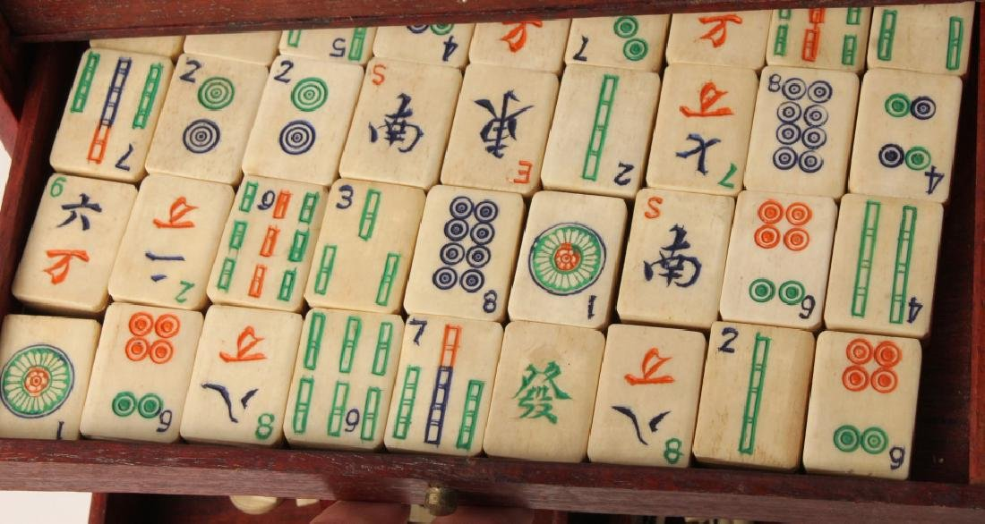 CHINESE BONE MAHJONG SET WITH WOODEN CASE - 3