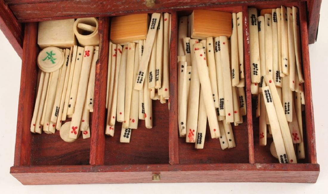 CHINESE BONE MAHJONG SET WITH WOODEN CASE - 4