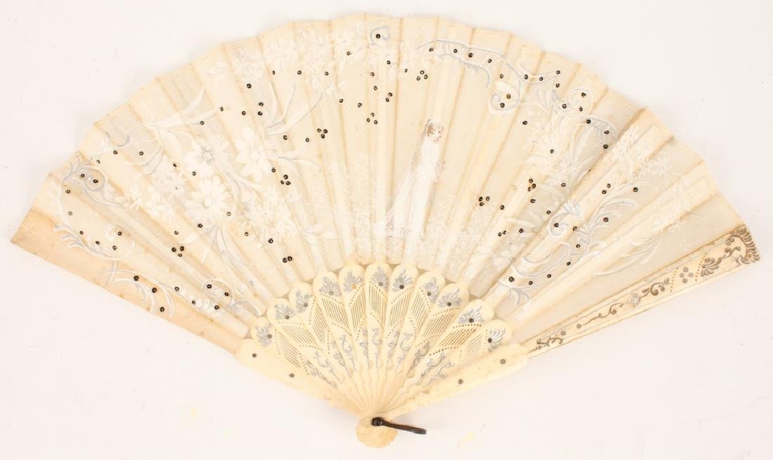 VICTORIAN SILK AND BONE HAND PAINTED FAN