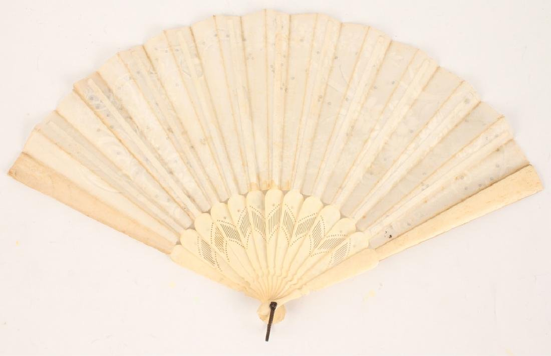 VICTORIAN SILK AND BONE HAND PAINTED FAN - 2