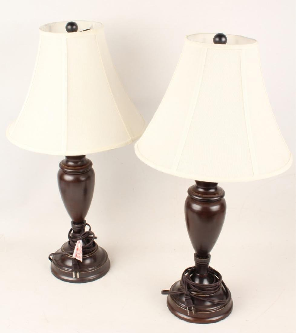 PAIR OF CONTEMPORARY BRONZE-TONE METAL TABLE LAMPS