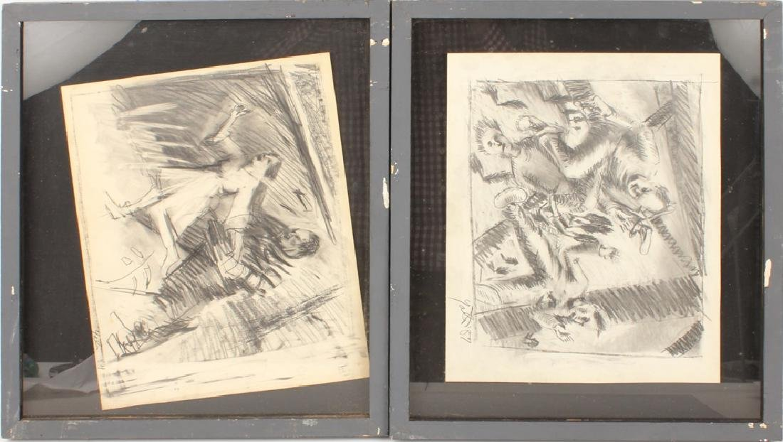 PAIR OF FRAMED & SIGNED GRAPHITE DRAWINGS