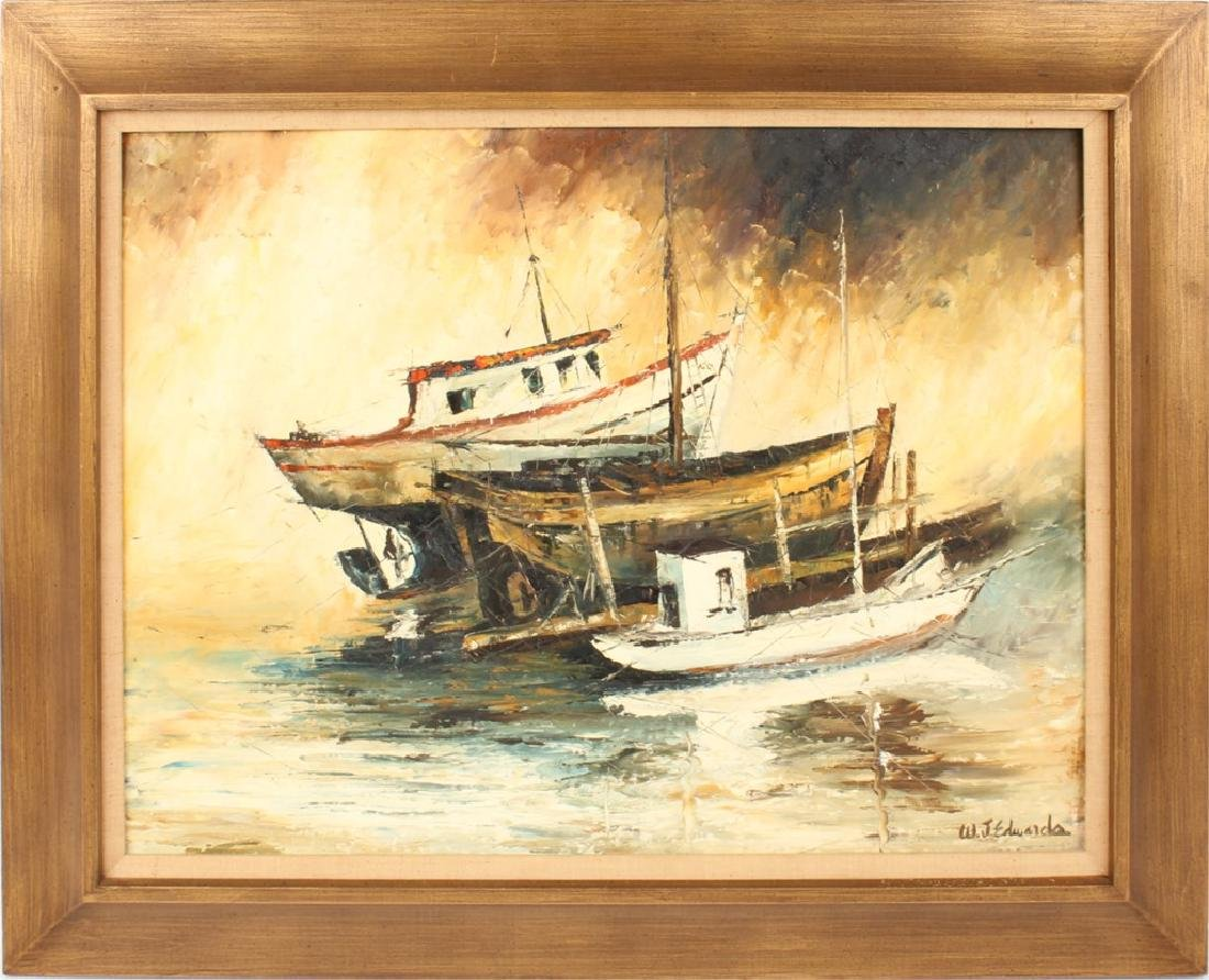 W.J. EDWARDS OIL ON BOARD BOAT SCENE