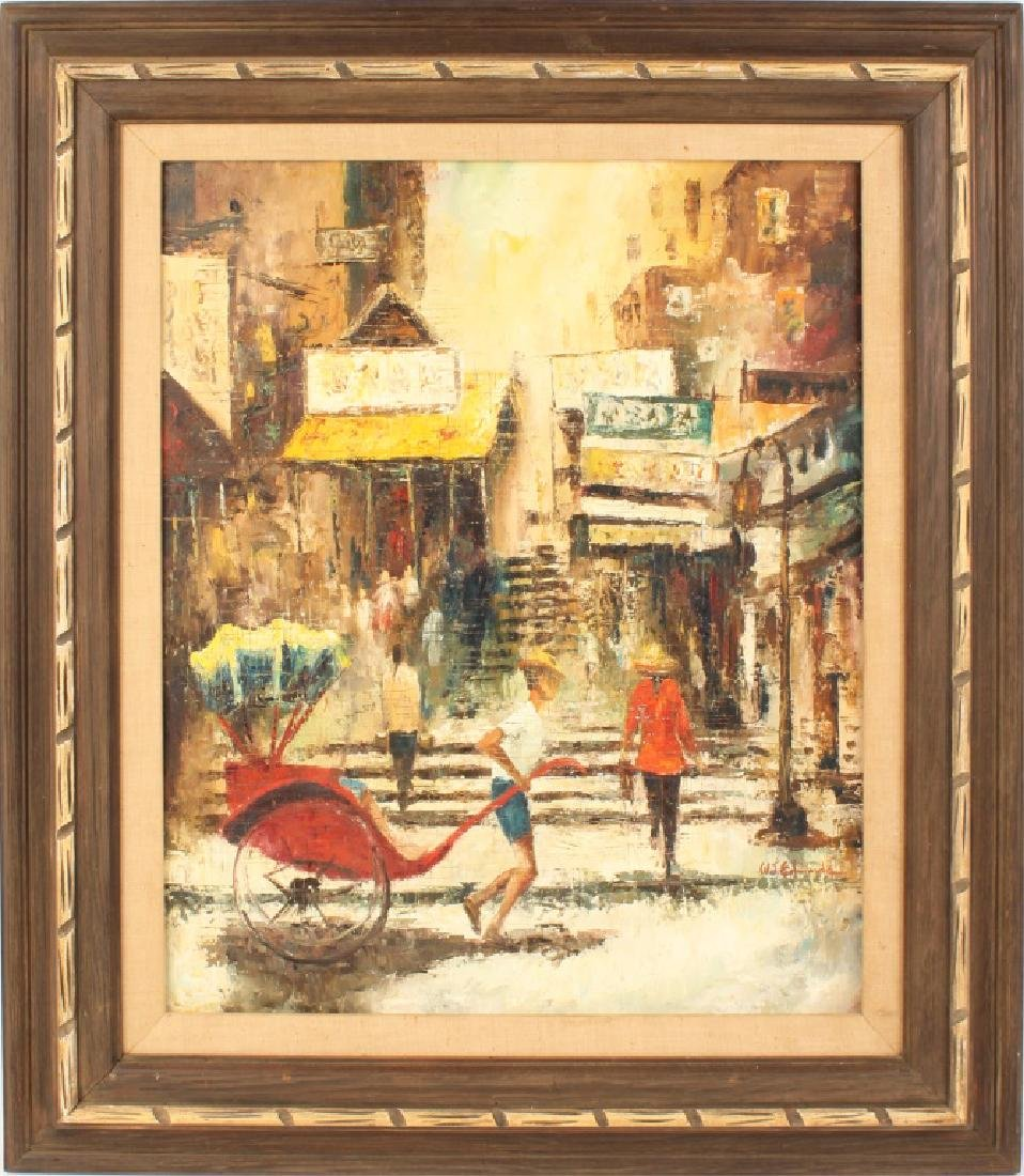 W.J. EDWARDS OIL ON BOARD STREET SCENE