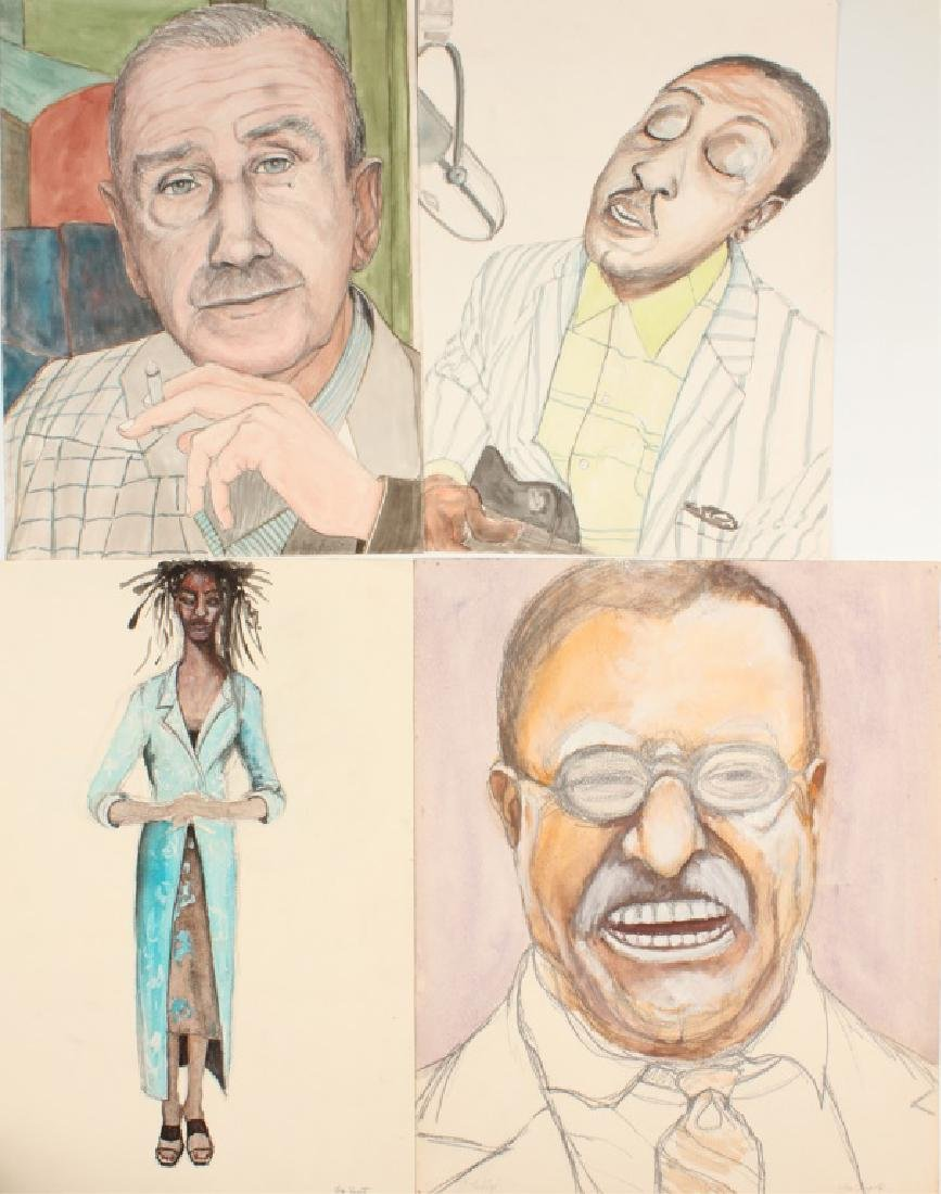 FOUR WATERCOLOR PORTRAITS BY JOE FUGATE