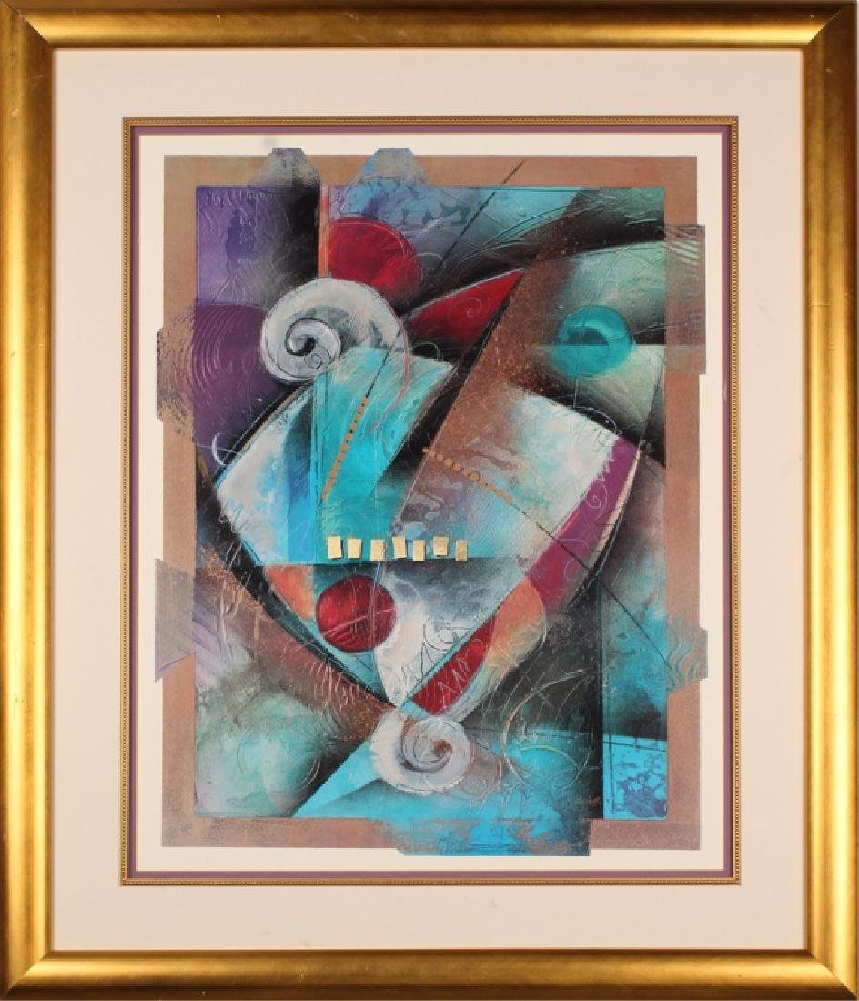 LARGE MATTED AND FRAMED ABSTRACT ART PRINT