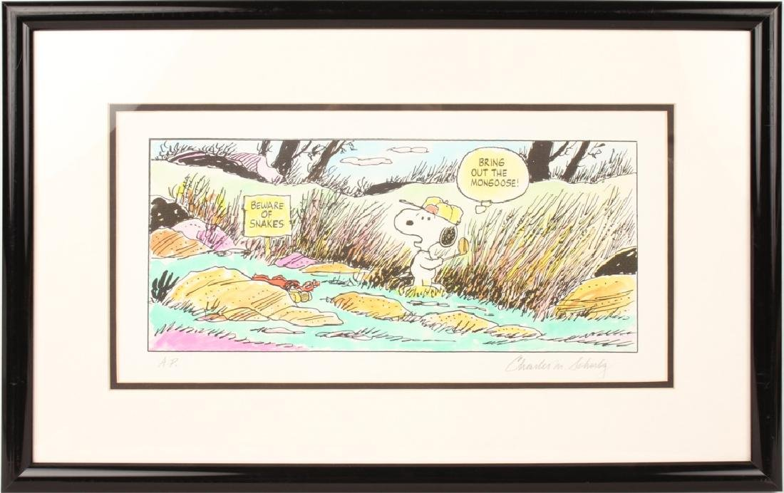 CHARLES SCHULZ PEANUTS HAND PAINTED ARTIST PRINT