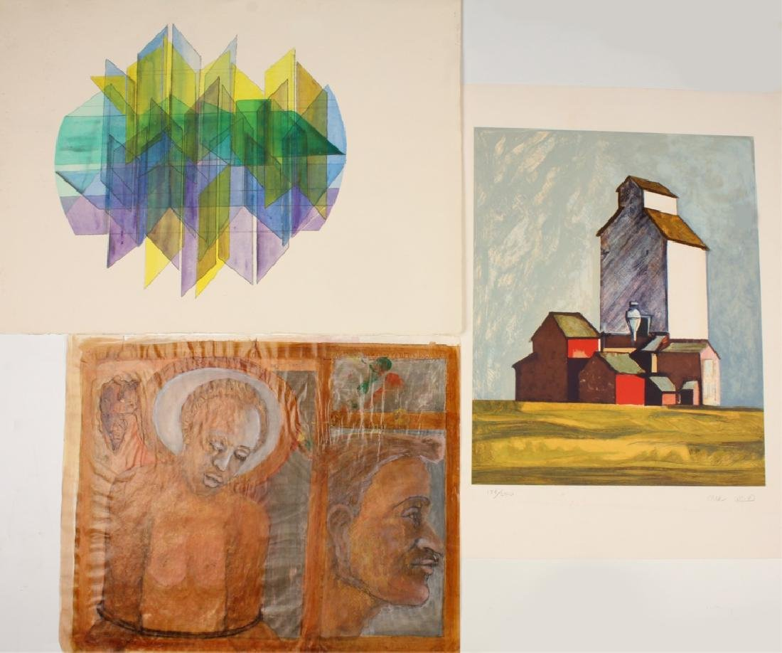 THREE ASSORTED LARGE ART PIECES