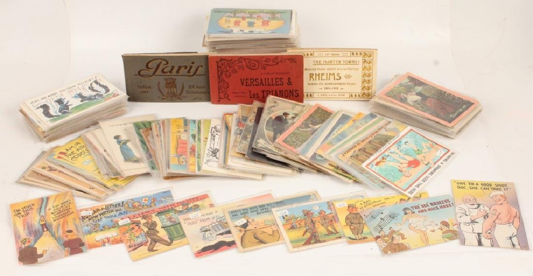 300 VINTAGE POSTCARDS & 3 POSTCARD BOOKS