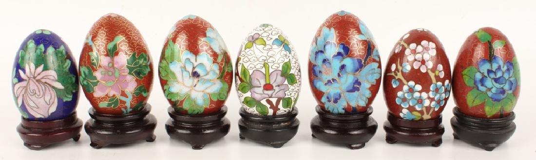 LOT OF 7 CLOISONNE EGGS