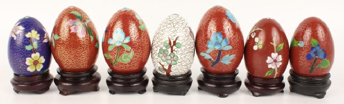 LOT OF 7 CLOISONNE EGGS - 2
