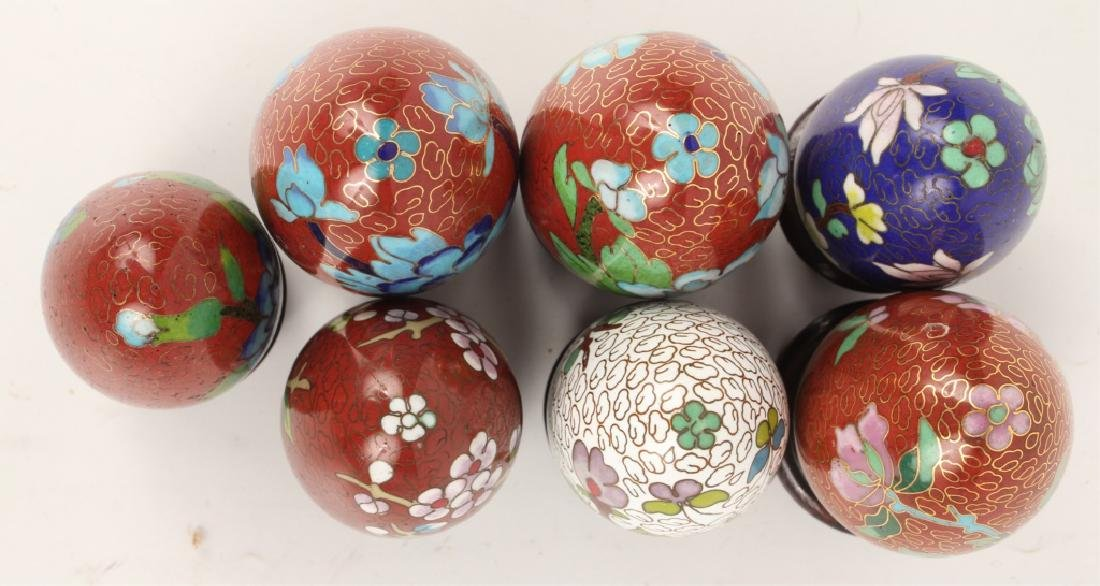 LOT OF 7 CLOISONNE EGGS - 3