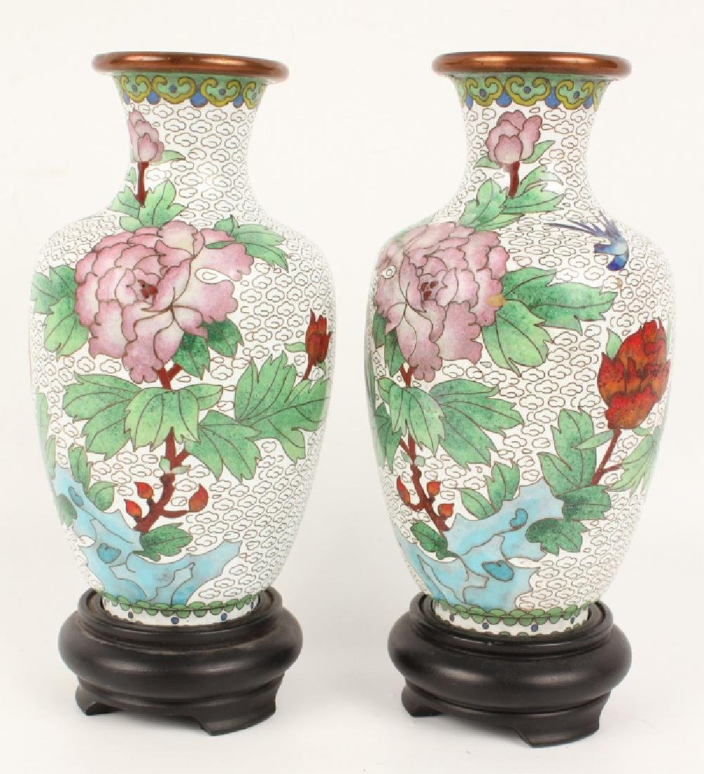 PAIR OF WHITE CLOISONNE VASES