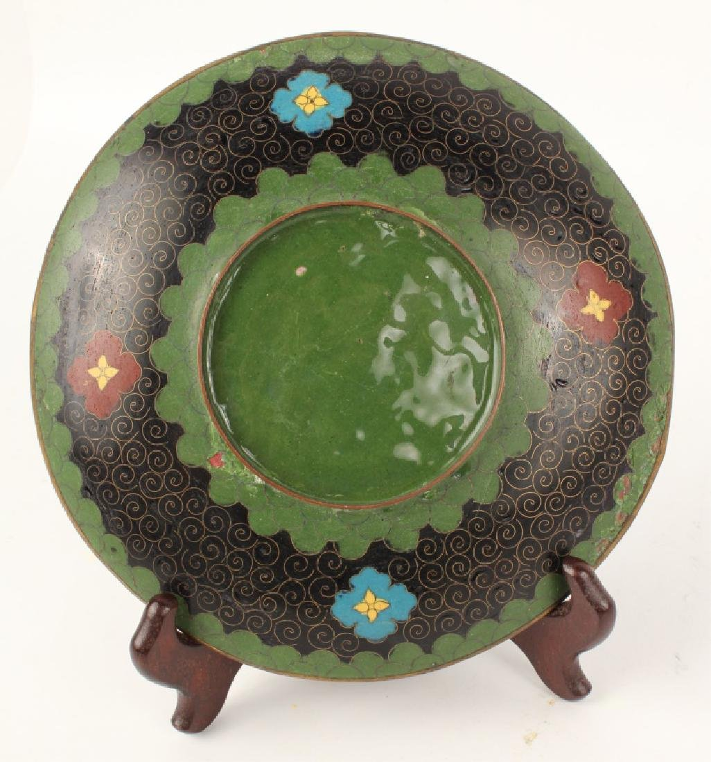 GREEN CLOISONNE BUTTERFLY PLATE - 2