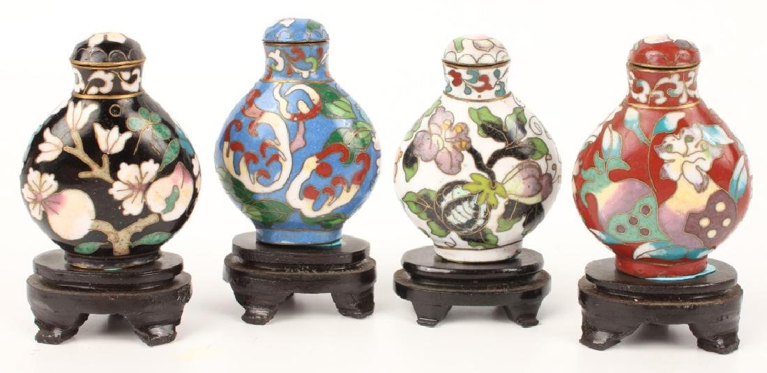 LOT OF 4 CLOISONNE SNUFF BOTTLES