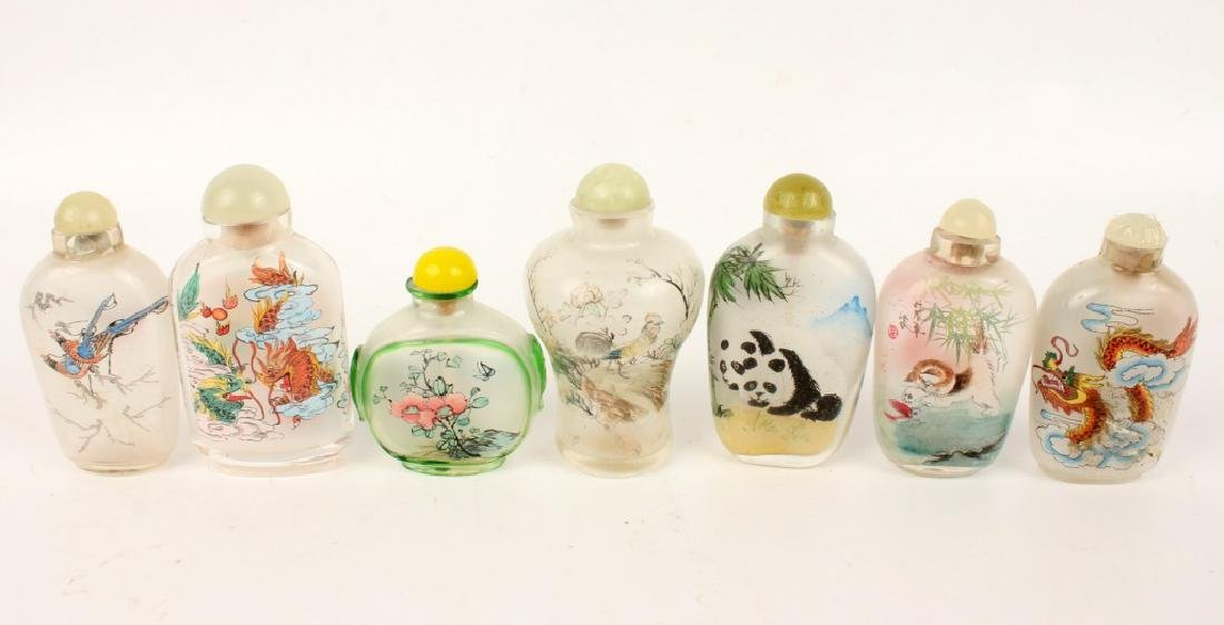 LOT OF 7 REVERSE PAINTED GLASS SNUFF BOTTLES