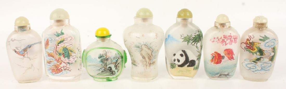 LOT OF 7 REVERSE PAINTED GLASS SNUFF BOTTLES - 2