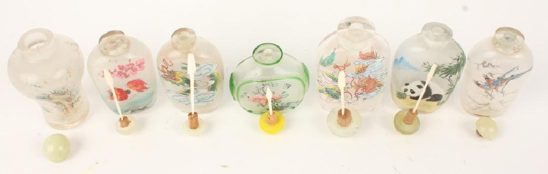 LOT OF 7 REVERSE PAINTED GLASS SNUFF BOTTLES - 6