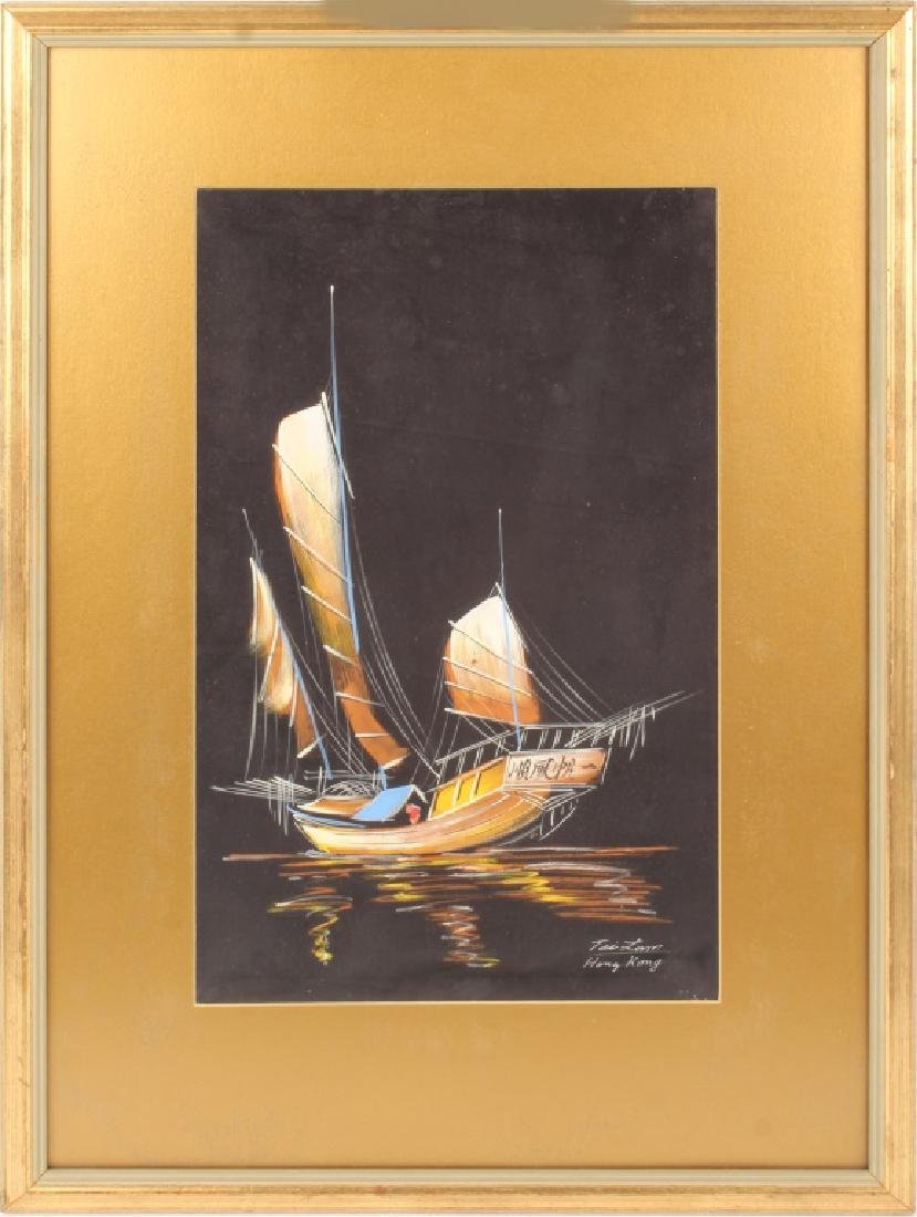 PAINTING ON SILK OF CHINESE SAILBOAT