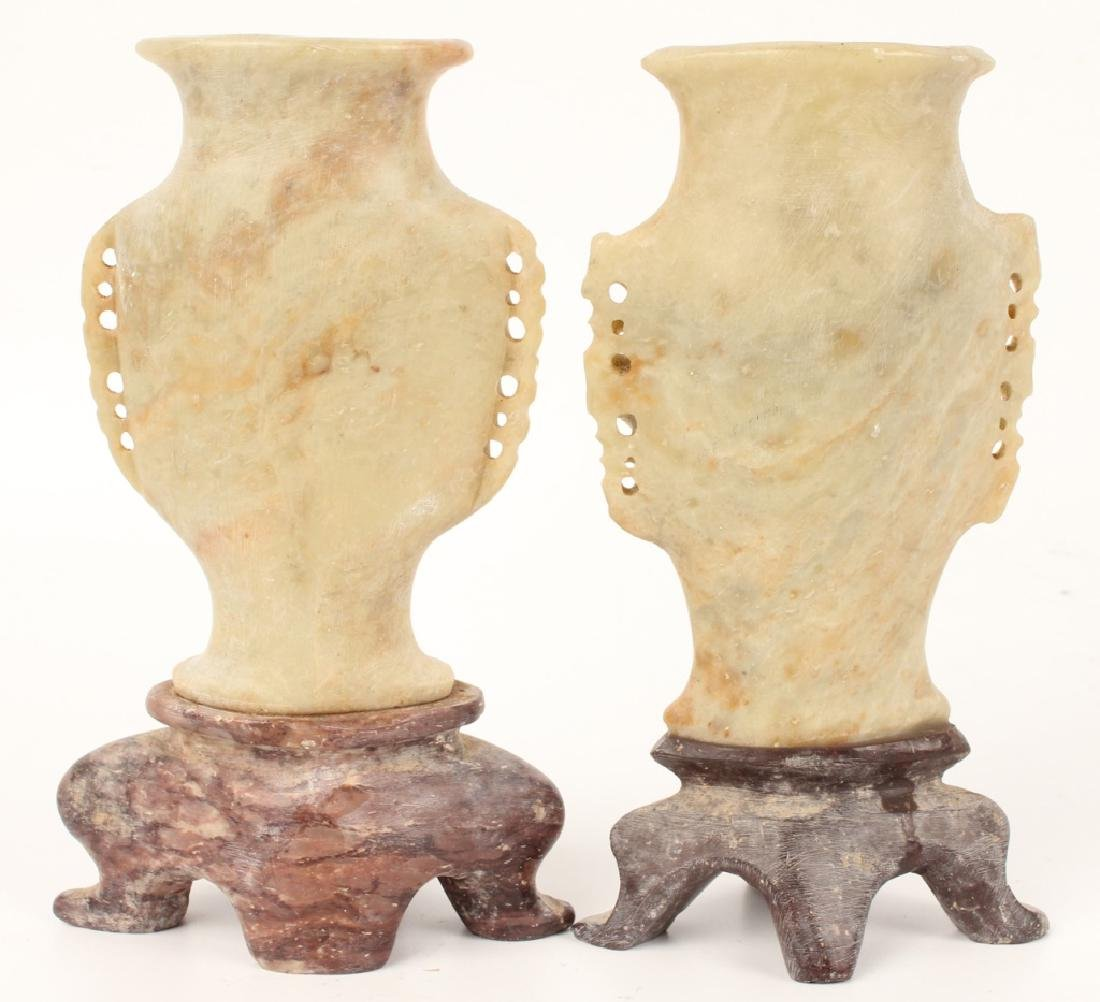 PAIR OF CHINESE SOFTSTONE VASES - 2