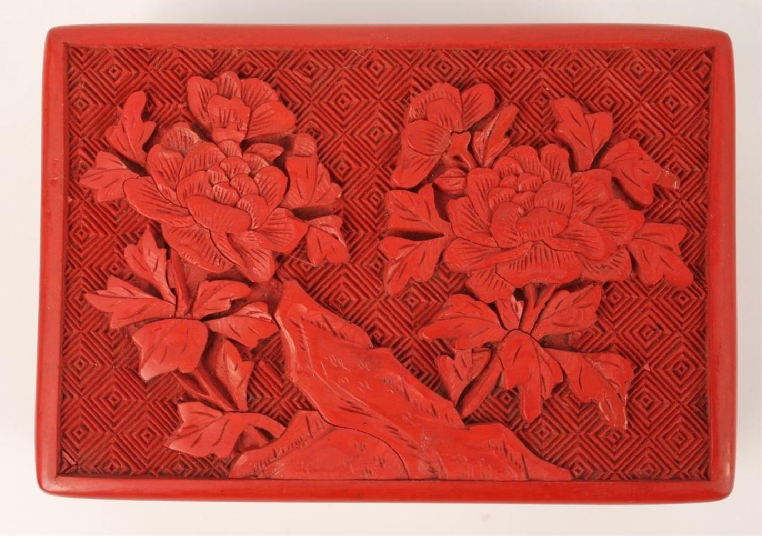 CHINESE RED CINNABAR TRINKET BOX