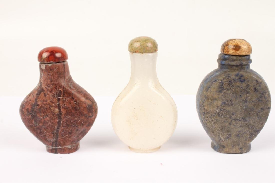 CARVED STONE CHINESE SNUFF BOTTLES - LOT OF 3