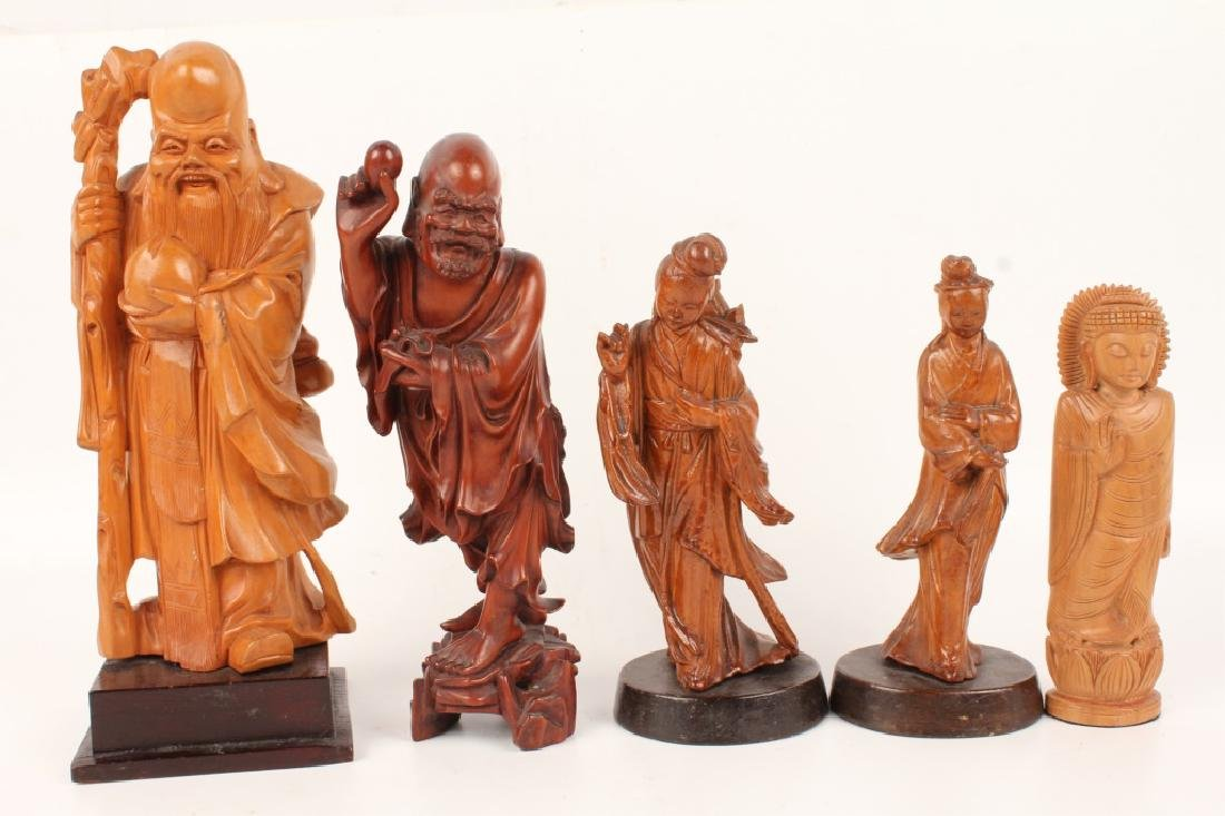 LOT OF 5 CHINESE & ASIAN CARVED WOODEN FIGURES