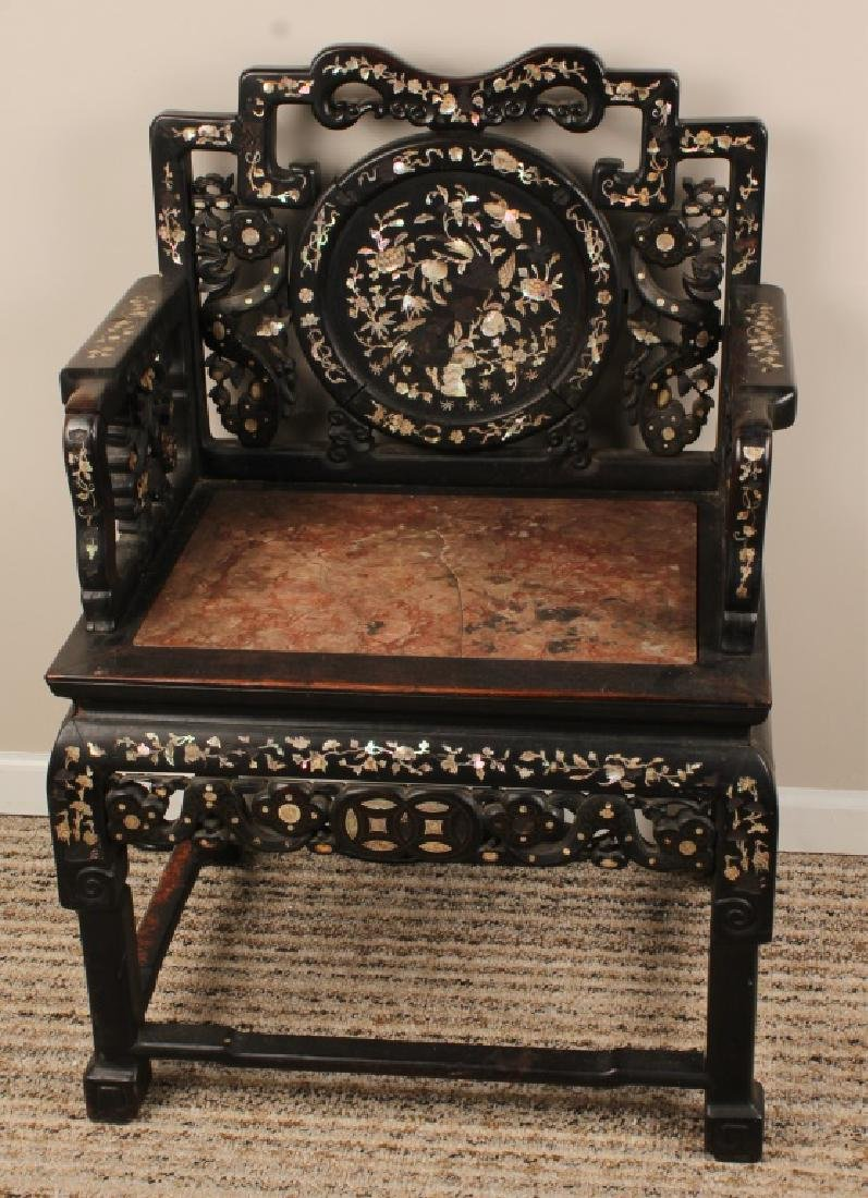 19th C. CHINESE CARVED WOOD MARBLE INLAID CHAIR