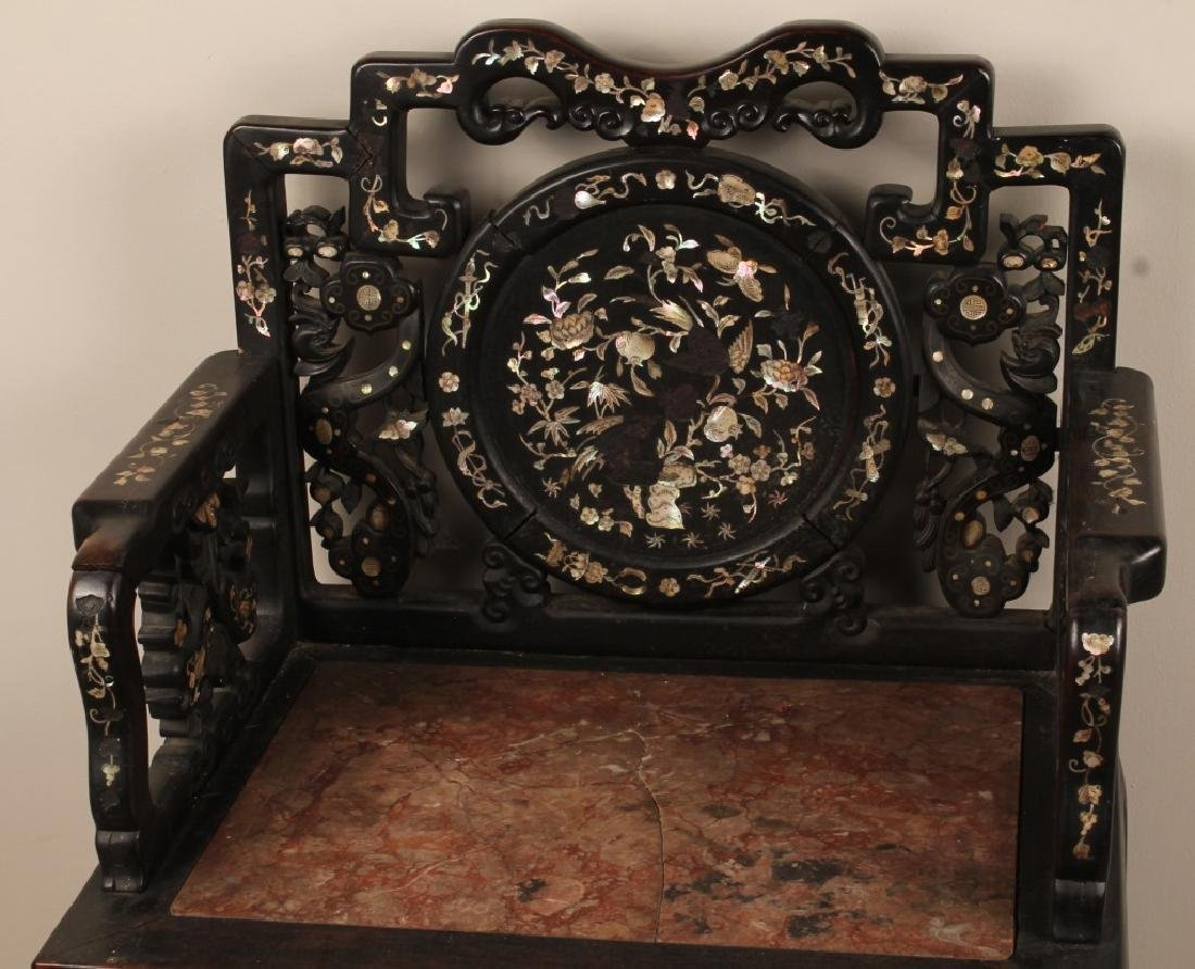19th C. CHINESE CARVED WOOD MARBLE INLAID CHAIR - 2